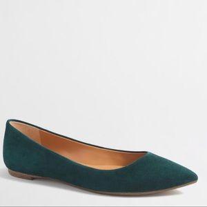J. Crew Amelia Suede Almond Toe Flats Green Size 7